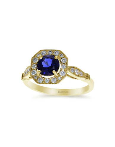 Effy 0.25 TCW Diamond, Ceylon Sapphire, 14K Yellow Gold Ring-BLUE-7