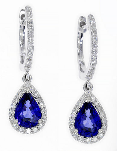 Effy 14K White Gold Diamond Natural Diffused Ceylon Sapphire Earrings-SAPPHIRE-One Size