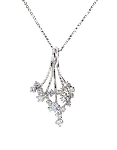 Effy 14K White Gold Cluster Pendant Necklace with 0.76 TCW Diamonds-DIAMOND-One Size