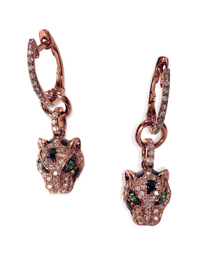Effy 14K Rose Gold 0.44ct. Diamond and 0.04ct. Tsavorite Earrings-DIAMOND-One Size