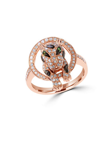 Effy 14K Rose Gold 0.47ct Diamond and 0.02ct Tsavorite Ring-ROSE GOLD-7