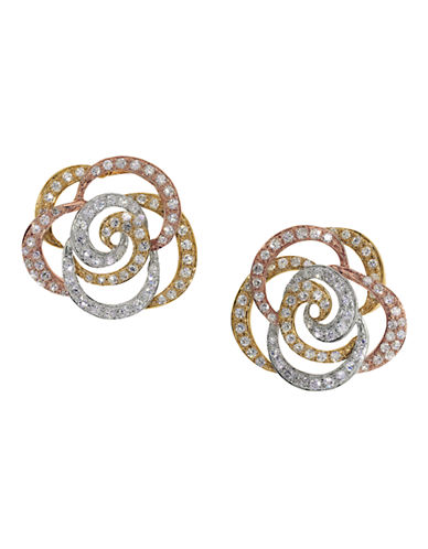 Effy 14K White-Yellow-Pink Diamond Earrings-DIAMOND-One Size