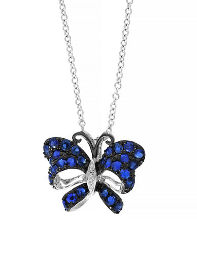Effy Sapphire Diamond and 18K White Gold Butterfly Necklace-SAPPHIRE-One Size