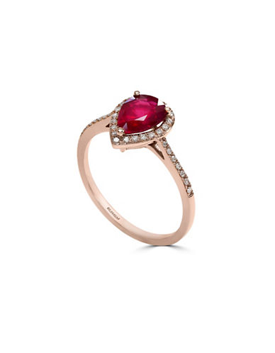 Effy 14K Rose Gold Mozambique Ruby Ring with 0.15 tcw Diamonds-RUBY-7