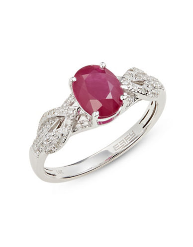 Effy 14 White Gold Ring with Mozambique Ruby and 0.20 TCW Diamonds-RED-7