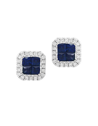Effy 0.2 TCW Diamond and Sapphire 14K White Gold Stud Earrings-SAPPHIRE-One Size
