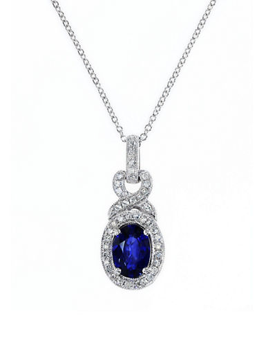 Effy 14K White Gold 0.16ct Diamond & 0.95ct Natural Diffused Ceylon Sapphire Pendant-SAPPHIRE-One Size