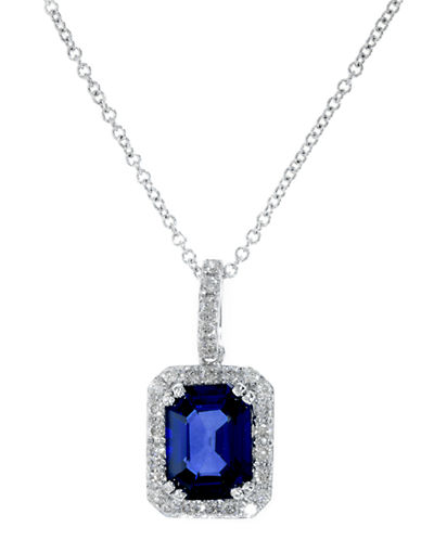 Effy 14K White Gold Diamond Natural Diffused Ceylon Sapphire Pendant-SAPPHIRE-One Size