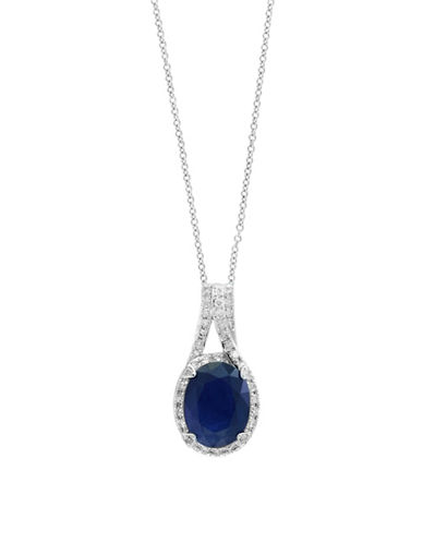 Effy 14K White Gold and Sapphire Pendant Necklace with 0.17 TCW Diamonds-BLUE-One Size