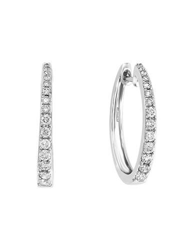 Effy 14K White Gold and Diamond Hoop Earrings-WHITE GOLD-One Size