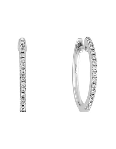 Effy 14K White Gold and Diamond Hoop Earrings-WHITE GOLD-One Size
