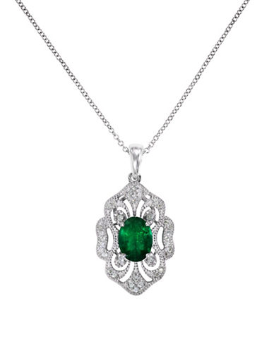 Effy 14K White Gold Pendant Necklace with Emerald and 0.17 TCW Diamonds-EMERALD-One Size