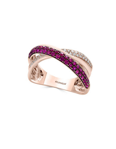 Effy 0.17 TCW Diamond, Natural Ruby & 14K Rose Gold Ring-RED-7