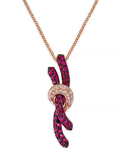 Effy 14K Rose Gold 0.08ct Diamond and 0.60ct Natural Ruby Pendant-RUBY-One Size