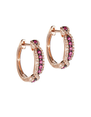Effy 14K Rose Gold 0.23Ct. T.W. Diamond and 0.28Ct. T.W. Natural Ruby Hoop Earrings-RUBY-One Size