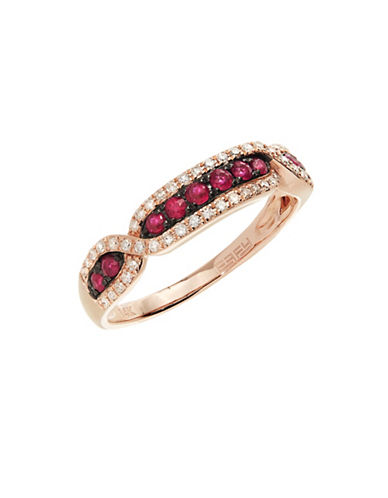 Effy 14K Rose Gold 0.16Ct. T.W. Diamond and 0.28Ct. T.W. Natural Ruby Ring-RUBY-7