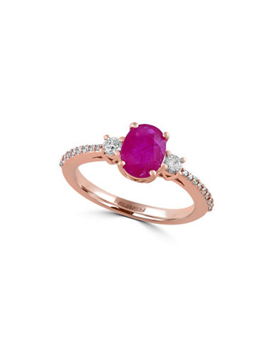 Effy 0.29 TCW Diamond and Ruby 14K Rose Gold Ring-RUBY-7