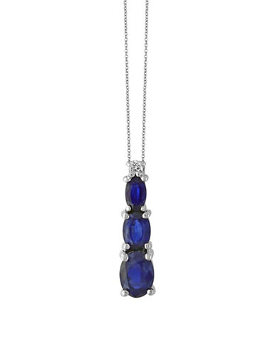 Effy Sapphire, 14K White Gold and 0.03 TCW Diamond Pendant Necklace-SAPPHIRE-One Size