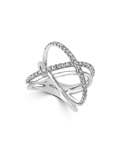 Effy 0.79 TCW Diamond, 14K White Gold Crossover Ring-DIAMOND-7