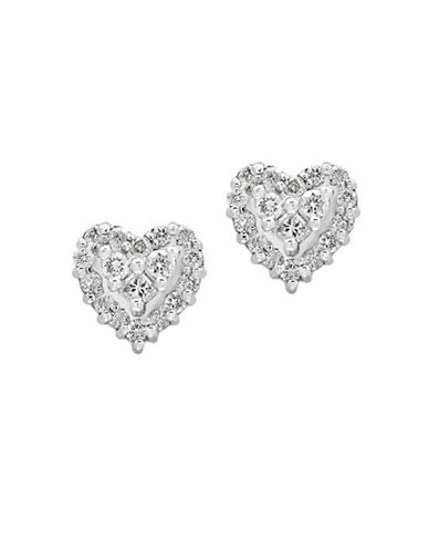 Effy 14k White Gold and 0.92 TCW Diamond Heart Stud Earrings-DIAMOND-One Size