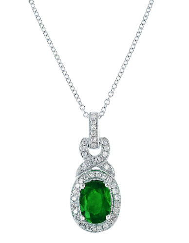 Effy 14K White Gold 0.16ct Diamond & 0.76ct Emerald Pendant-EMERALD-One Size