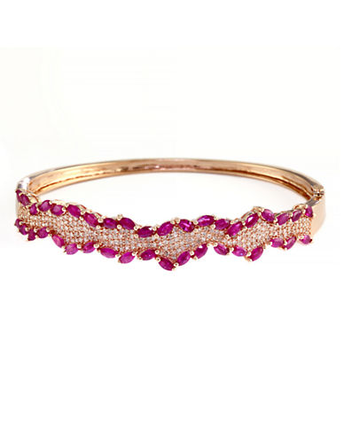 Effy 14K Rose Gold Diamond and Natural Ruby Bangle-RED-One Size