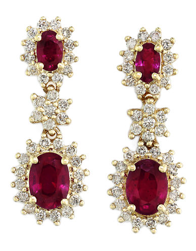 Effy 14K Yellow Gold Diamond and Natural Ruby Earrings-RED-One Size