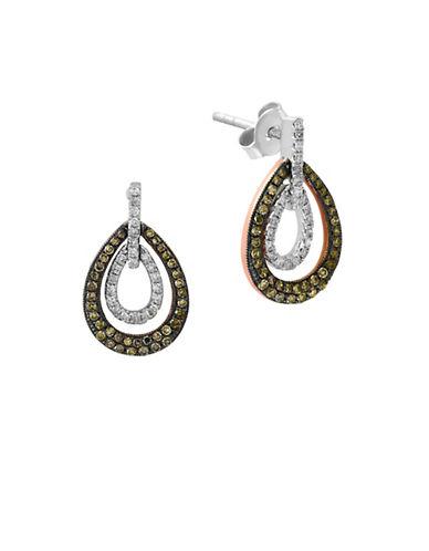 Effy 0.47 TCW White and Espresso Diamond 14K White and Rose Gold Teardrop Earrings-DIAMOND-One Size