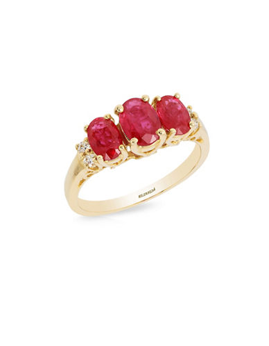 Effy 14K Yellow Gold 0.08TCW Diamond and Oval Ruby Ring-RUBY-7