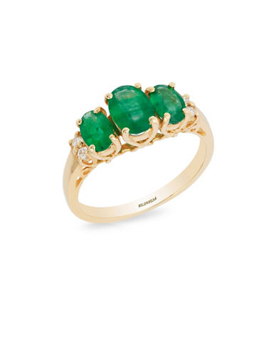 Effy 14K Yellow Gold 0.08TCW Diamond and Oval Emeralds Ring-EMERALD-7