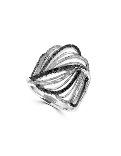 Effy 14K White Gold Ring with Diamond and Black Diamond 0.84 tcw-TWO-TONE-7