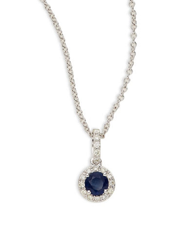 Effy 14K White Gold Pendant Necklace with Sapphire and 0.11 TCW Diamonds-BLUE-One Size