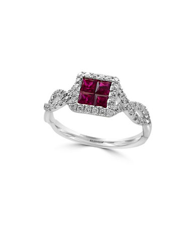 Effy Ruby, 14K White Gold and 0.32 TCW Diamond Ring-RUBY-One Size