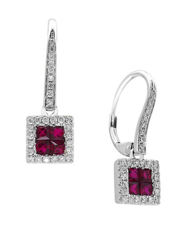 Effy Ruby, 14K White Gold and 0.27 TCW Diamond Earrings-RUBY-One Size