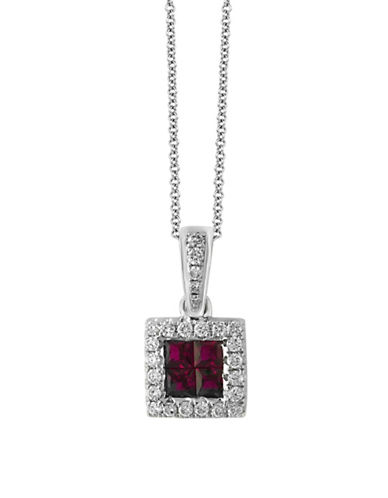 Effy Ruby, 14K White Gold and 0.15 TCW Diamond Square Pendant Necklace-RUBY-One Size