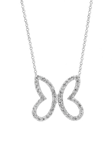 Effy 14K White Gold Butterfly Necklace with 0.37 TCW Diamonds-WHITE-One Size