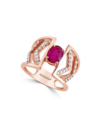 Effy 0.39 TCW Diamond, Natural Mozambique Ruby, 14K Rose Gold Ring-RUBY-7