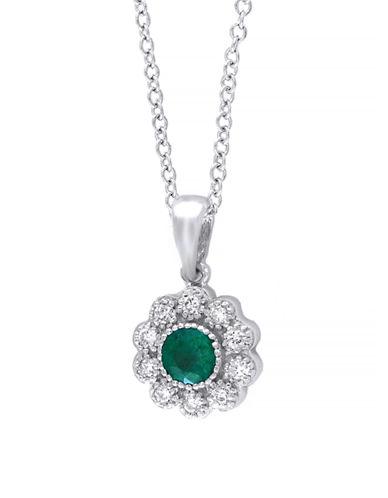 Effy 14 Karat White Gold and Emerald Pendant Necklace-EMERALD-One Size