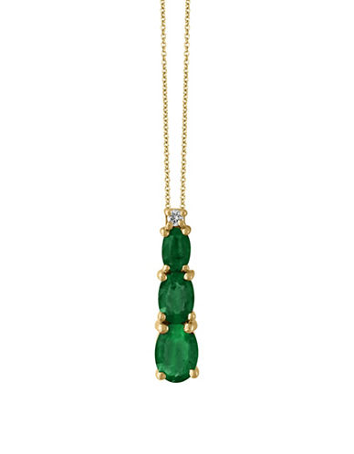Effy Emerald, 14K Yellow Gold and 0.03 TCW Diamond Pendant Necklace-EMERALD-One Size