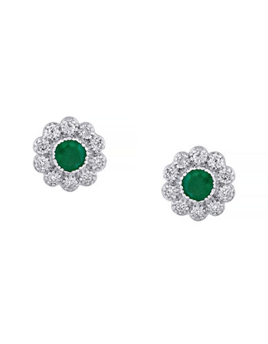 Effy Emerald Diamond and 14K White Gold Flower Earrings-EMERALD-One Size