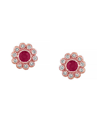 Effy Ruby Diamond and 14K Rose Gold Flower Earrings-RUBY-One Size