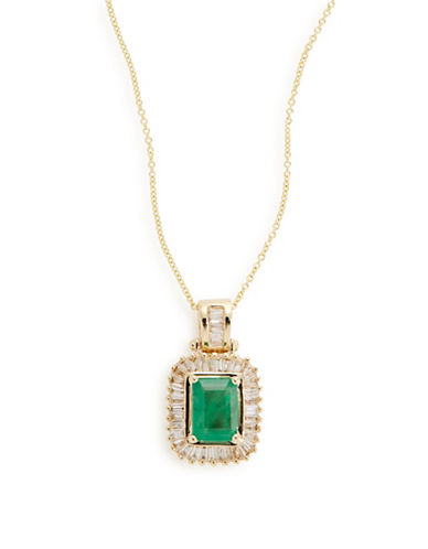 Effy 14K Yellow Gold Framed Emerald Pendant Necklace-EMERALD-One Size