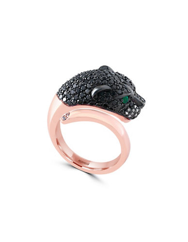 Effy 1.72 TCW Two-Tone Diamond, Emerald, 14K Rose Gold Panther Head Ring-ROSE GOLD-7