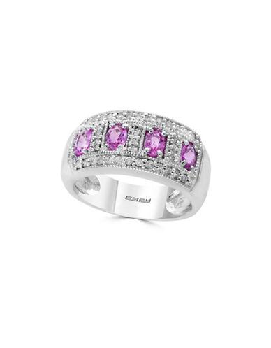 Effy 0.25 TCW Diamond, Pink Sapphire & 14K White Gold Ring-PURPLE-7