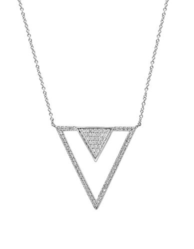 Effy 14K White Gold and 0.75TCW Diamond Triangle Pendant Necklace-DIAMOND-One Size