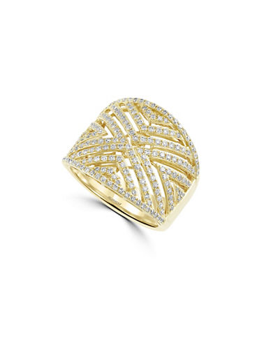 Effy 14K Yellow Gold and 0.82 TCW Diamond Chevron Cutout Ring-DIAMOND-7