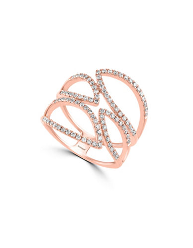 Effy 14K Rose Gold and 0.59TCW Diamond Open-Work Ring-ROSE GOLD-7