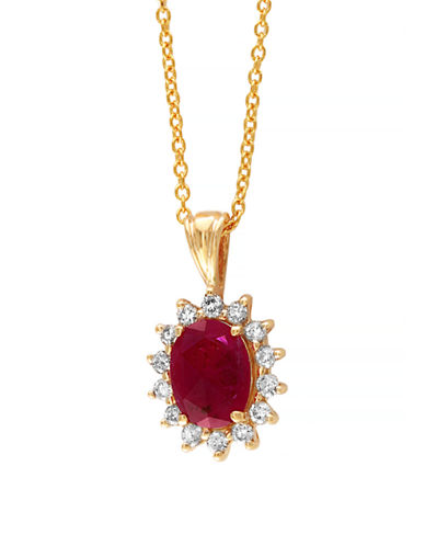 Effy 14 Karat Yellow Gold and Ruby Pendant Necklace-RUBY-One Size