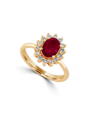 Effy Ruby Diamond and 14K Yellow Gold Oval Ring-RUBY-7