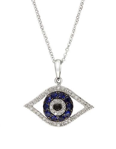 Effy 14K White Gold White And Black Diamond And Sapphire Pendant-DIAMOND-One Size